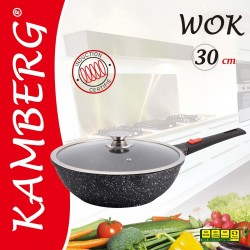 Wok 30 cm en pierre, induction, antiadhésive,manche...