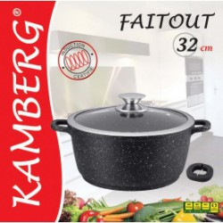 Marmite faitout 32 cm en pierre, induction, antiadhésive,...
