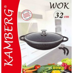 Wok 32 cm en pierre, induction, antiadhésive, Kamberg