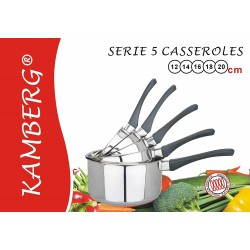 5 Casseroles, inox et manches bakélites induction, kamberg
