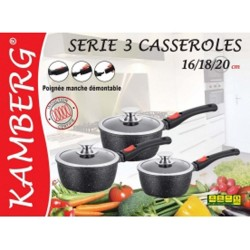 3 casseroles en pierre manches amovibles,induction,...