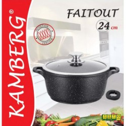 Marmite faitout 24 cm en pierre, induction, antiadhésive,...