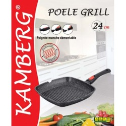 Grill en pierre 24 cm, manches amovibles, induction, kamberg